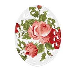 Flower Rose Pink Red Romantic Oval Filigree Ornament (two Sides) by Nexatart