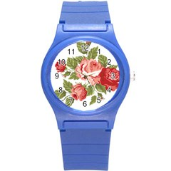 Flower Rose Pink Red Romantic Round Plastic Sport Watch (s) by Nexatart