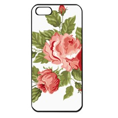 Flower Rose Pink Red Romantic Apple Iphone 5 Seamless Case (black)