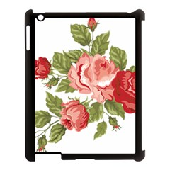 Flower Rose Pink Red Romantic Apple Ipad 3/4 Case (black) by Nexatart