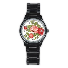 Flower Rose Pink Red Romantic Stainless Steel Round Watch by Nexatart