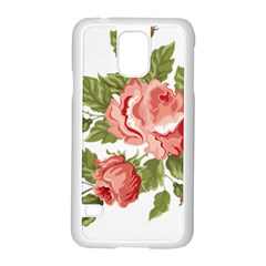Flower Rose Pink Red Romantic Samsung Galaxy S5 Case (white) by Nexatart