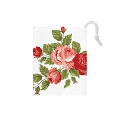 Flower Rose Pink Red Romantic Drawstring Pouches (small)