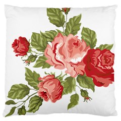 Flower Rose Pink Red Romantic Large Flano Cushion Case (two Sides)