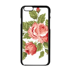 Flower Rose Pink Red Romantic Apple Iphone 6/6s Black Enamel Case