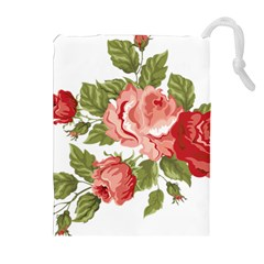 Flower Rose Pink Red Romantic Drawstring Pouches (extra Large)