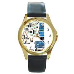 Arduino Arduino Uno Electronic Round Gold Metal Watch by Nexatart