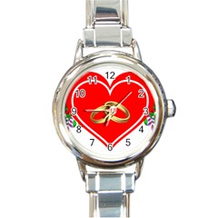 Heart Flowers Ring Round Italian Charm Watch