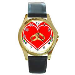Heart Flowers Ring Round Gold Metal Watch