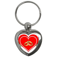 Heart Flowers Ring Key Chains (heart)  by Nexatart