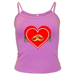 Heart Flowers Ring Dark Spaghetti Tank