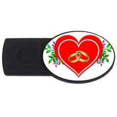 Heart Flowers Ring Usb Flash Drive Oval (4 Gb) by Nexatart
