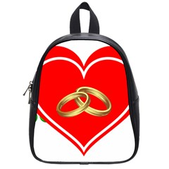 Heart Flowers Ring School Bags (small)  by Nexatart
