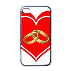 Heart Flowers Ring Apple Iphone 4 Case (black) by Nexatart