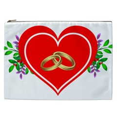 Heart Flowers Ring Cosmetic Bag (xxl)