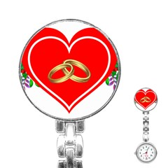 Heart Flowers Ring Stainless Steel Nurses Watch
