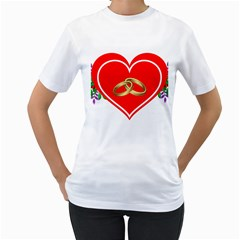 Heart Flowers Ring Women s T Shirt (white)