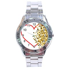 Heart Transparent Background Love Stainless Steel Analogue Watch by Nexatart