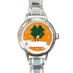 St Patricks Day Ireland Clover Round Italian Charm Watch