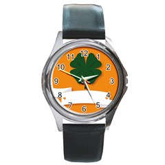 St Patricks Day Ireland Clover Round Metal Watch