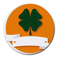 St Patricks Day Ireland Clover Round Mousepads by Nexatart