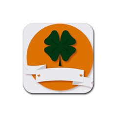 St Patricks Day Ireland Clover Rubber Square Coaster (4 Pack)