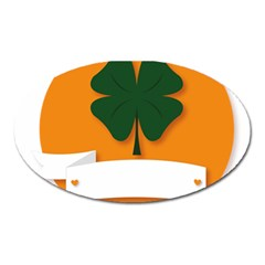 St Patricks Day Ireland Clover Oval Magnet by Nexatart