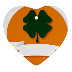St Patricks Day Ireland Clover Heart Ornament (two Sides)