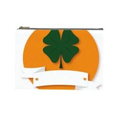 St Patricks Day Ireland Clover Cosmetic Bag (large)  by Nexatart