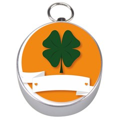 St Patricks Day Ireland Clover Silver Compasses