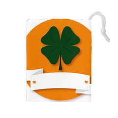 St Patricks Day Ireland Clover Drawstring Pouches (large)  by Nexatart