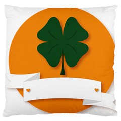 St Patricks Day Ireland Clover Large Flano Cushion Case (two Sides) by Nexatart
