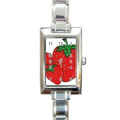 Strawberry Holidays Fragaria Vesca Rectangle Italian Charm Watch