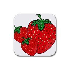 Strawberry Holidays Fragaria Vesca Rubber Square Coaster (4 Pack)  by Nexatart