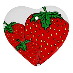 Strawberry Holidays Fragaria Vesca Heart Ornament (two Sides) by Nexatart