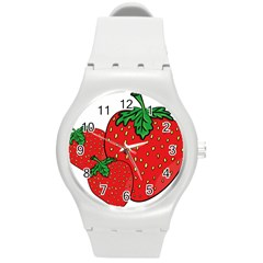 Strawberry Holidays Fragaria Vesca Round Plastic Sport Watch (m)