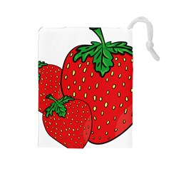 Strawberry Holidays Fragaria Vesca Drawstring Pouches (large)