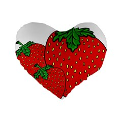 Strawberry Holidays Fragaria Vesca Standard 16  Premium Flano Heart Shape Cushions by Nexatart