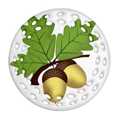 Acorn Hazelnuts Nature Forest Round Filigree Ornament (two Sides) by Nexatart