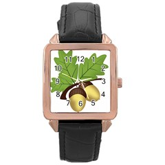 Acorn Hazelnuts Nature Forest Rose Gold Leather Watch