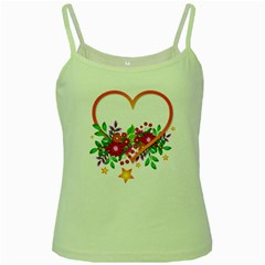 Heart Flowers Sign Green Spaghetti Tank
