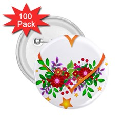 Heart Flowers Sign 2 25  Buttons (100 Pack)  by Nexatart