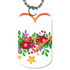 Heart Flowers Sign Dog Tag (two Sides) by Nexatart