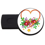 Heart Flowers Sign USB Flash Drive Round (2 GB) Front