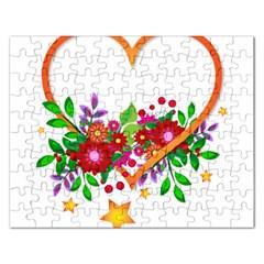 Heart Flowers Sign Rectangular Jigsaw Puzzl