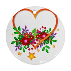 Heart Flowers Sign Round Ornament (two Sides) by Nexatart