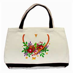 Heart Flowers Sign Basic Tote Bag (two Sides) by Nexatart