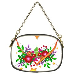Heart Flowers Sign Chain Purses (one Side)  by Nexatart