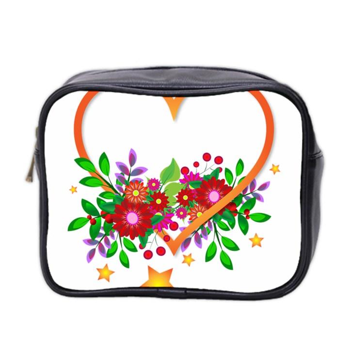 Heart Flowers Sign Mini Toiletries Bag 2-Side