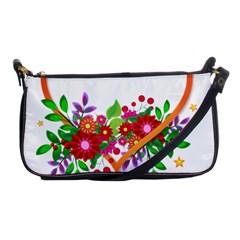Heart Flowers Sign Shoulder Clutch Bags by Nexatart